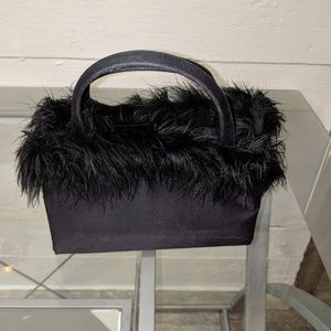 Kate Spade black evening purse with ostrich feathe